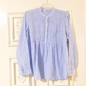 Sky Blue Baby Doll Flowy Long Sleeves Button Down